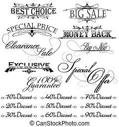 vintage design elements for sale text