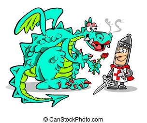 George and the dragon.WBG. - Cartoon George and the dragon...