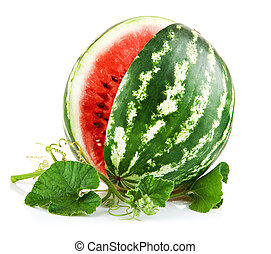juicy watermelon in cut with green leaf isolated on white...