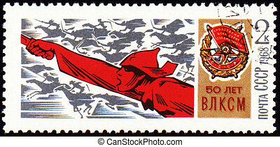 Red Army Man with a sword on postage stamp - USSR - CIRCA...