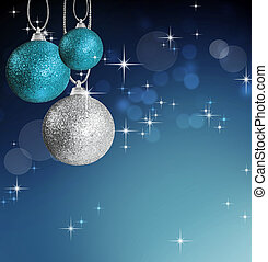 Colorful christmas bauble balls with star background -...