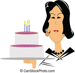 mature woman wishing happy birthday - mature woman holding...