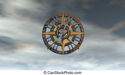 compass on cloudy sky - 3d illustration