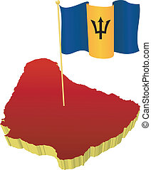 Three-dimensional image map of Barbados  with the national flag
