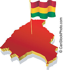 Three-dimensional image map of  Bolivia with the national flag