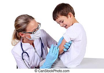 doutor, vacina, injeção, criança