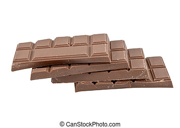 Chocolate pieces on white