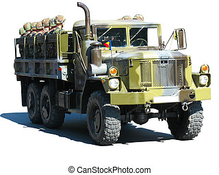 camouflage military truck with soldiers isolated over white...