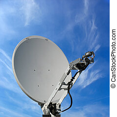 satellite dish antenna over blue sky