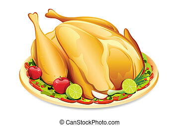 Roasted Holiday Turkey - illustration of roasted holiday...