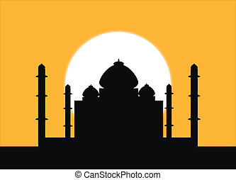 Taj Mahal at sunset - The silhouette Taj Mahal on an sunset...