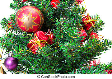 Colorful Christmas Decorations on a Tree Isolated on a White...