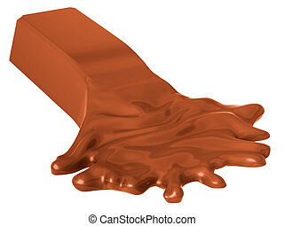 Molten chocolate bar isolated on white