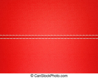 Red stitched leather background. Large resolution