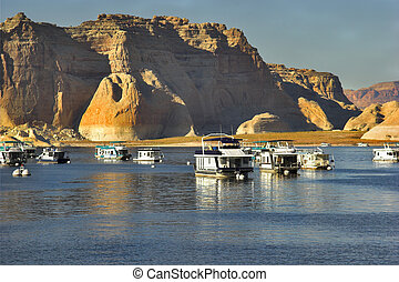 Excellent rest -  Walking boats on lake Powell in the USA