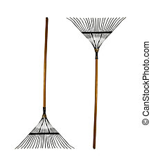 garden rake  - garden rakes on a white background