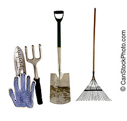 garden tools - variety of garden tools on a white background