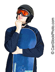 Portrait of handsome man in sportswear with snowboard isolated on a white background