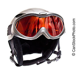 Ski helmet and ski goggles isolated on white background