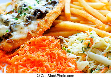 chicken steak with fries / chips and salad