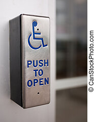 Accessible business with wheelchair button on door