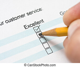 Customer service survey being filled out
