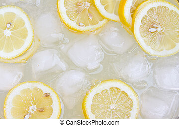 Lemonade background with ice and lemons