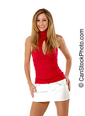Smiling beautiful blond in a red shirt and short skirt -...