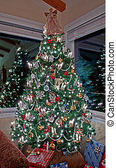 Vertical Tall Decorated Christmas Tree Indoors - This...