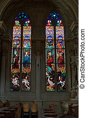 Church stained-glass windows - Bright multi-colour...