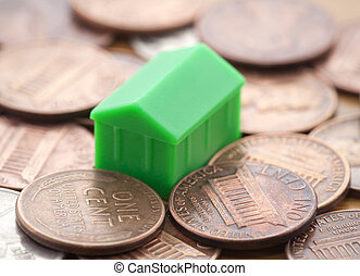 Miniature green house on US coins