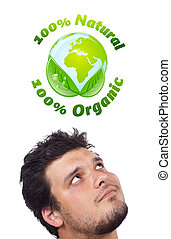Young head looking at green eco sign