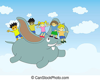 The flying elephant with kids