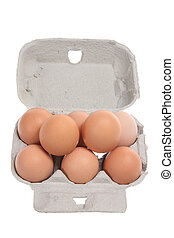 Eggs on Egg Carton with White Background