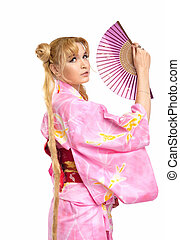 Young woman in kimono costume with fantail