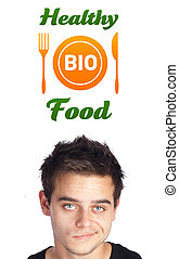 Young head looking at healthy food sign