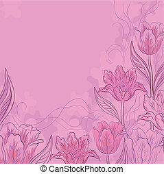 Flower background, tulips, pink - Vector flower pink...