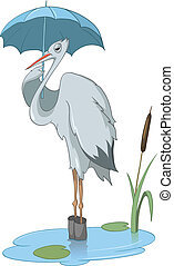 Cartoon Character Stork Isolated on White Background....