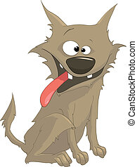 Cartoon Character Sly Dog Isolated on White Background...