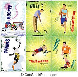 Six sport posters Track and field, Ice hockey, tennis,...