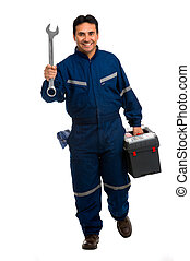 worker with wrench - Full length portrait worker with wrench...