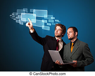 Businessman pressing high tech type of modern buttons