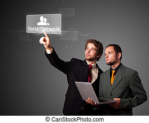 Businessman pressing modern social type of icons