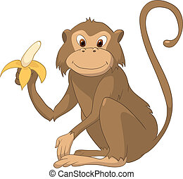 Cartoon Character Monkey Isolated on White Background....