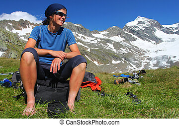 Young woman enjoying the Austrian Alps
