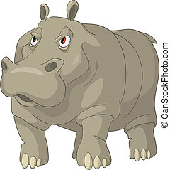 Cartoon Character Hippopotamus Isolated on White Background....