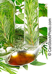 Herbal medicine - herbs for medicine on a spoon