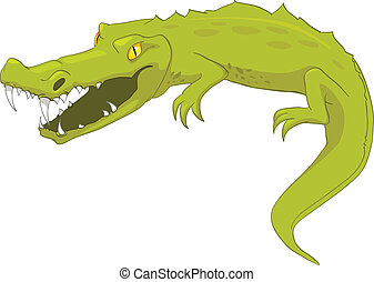 Cartoon Character Crocodile Isolated on White Background...