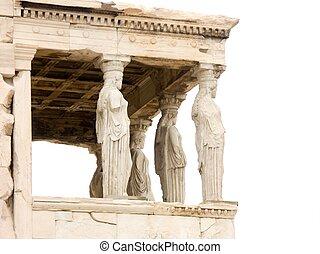 Parthenon temple on Acropolis, Athens, Greece on white...