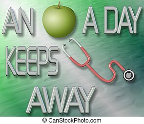 An apple a day keeps doctor away - An illustration of a...